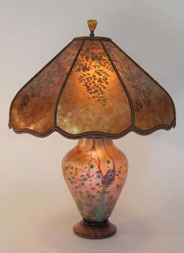 Green Tree Lindsay Art Gl Lamp With Lighted Base Amber Mica Shade Maidenhair Fern
