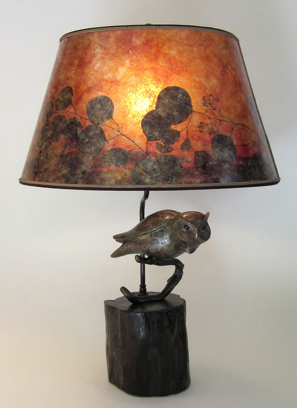 rustic bronze owl table lamp lamps antique for living room figurine