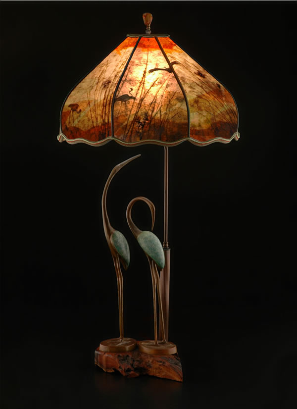 Bird lamps bird lamp shades archives sue johnson t304 two cranes forever bird table lamp mozeypictures Gallery