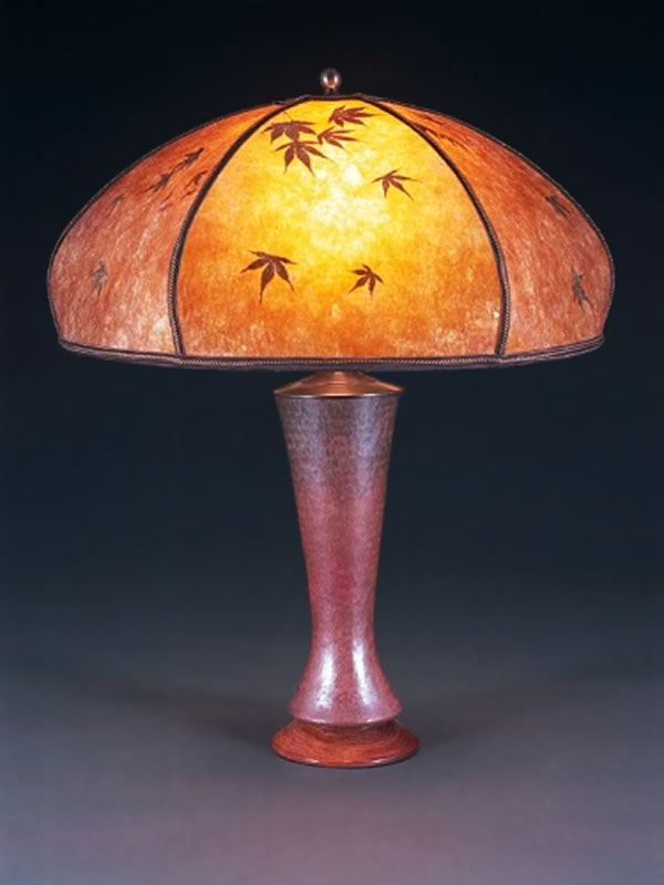 t97 Copper bedside lamp, Amber Bent Mica Lampshade