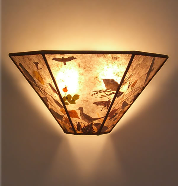 Wall Sconces With Birds : Sierra Light Mica Sconce with Bird and Animal Illustrations by John Muir Laws Sue Johnson ...