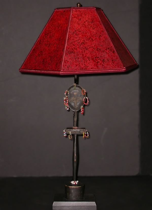 African Decor Table Lamp Fertility Doll With Beads Red Shade