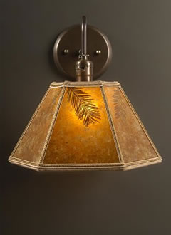 Brass wall sconce with rustic redwood lamp shade sue johnson brass wall sconce with rustic redwood lamp shade aloadofball Choice Image