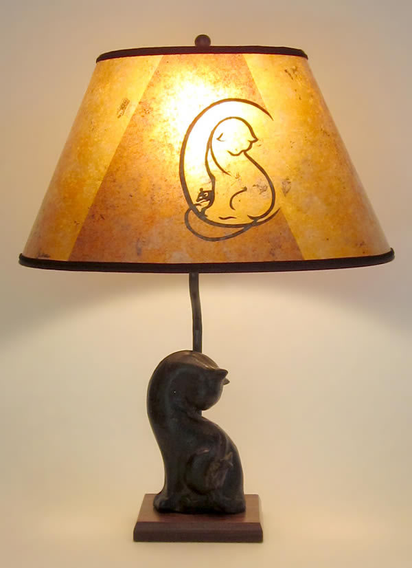 C Is For Cat And Mouse Lamp With Oval Mica Shade Sue