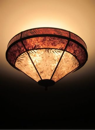 c307 Mica Hanging Ceiling Light Fixture with Natural Foliage and Rich Brown Border