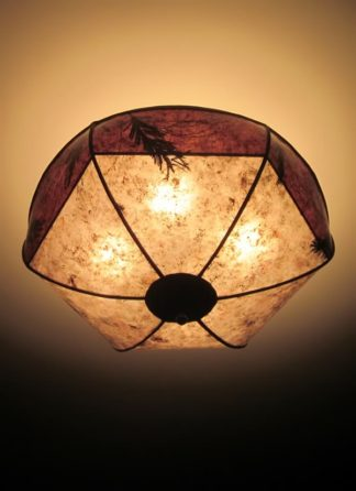 c308 Bowl-shaped Mica Hanging Light with Brown Border and Natural Foliage