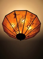 "c309 Amber Mica Ceiling Light - ""Arts and Crafts Meadow"""