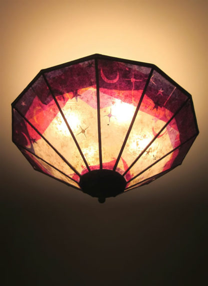 "c311 Magenta, Purple Mica Ceiling Light Shade – ""Sun Moon and Stars"""