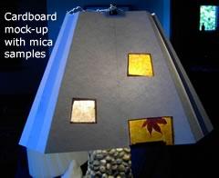 mica samples in a custom lamp shade mock-up