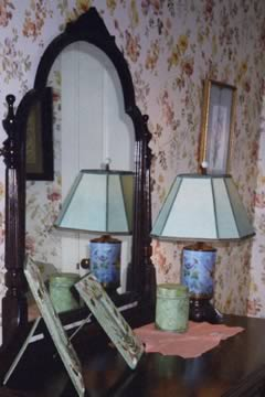 Pale blue parchment paper works beautifully on this painted glass table lamp.