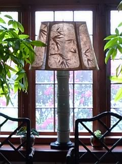 custom lamp shade with bamboo leaves and bamboo pottery lamp base