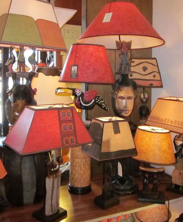 African lamps at our Berkeley shop Sue Johnson