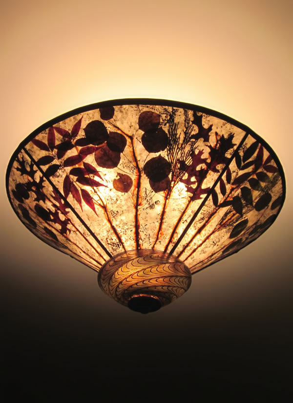 Fall Forest Ceiling Light With Blown Glass Cap Sue Johnson
