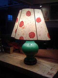 Custom hand painted lamp shade on customer's lamp base