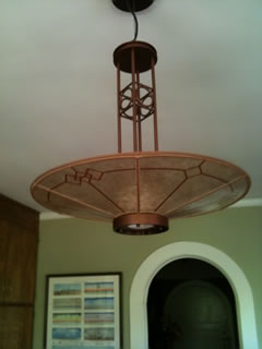 Custom Mica ceiling shade with Hand-cut Windowpane design