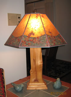 Alkyd Mica lamp shade with Cherry Blossom border and gold liner by Lynn Duncan