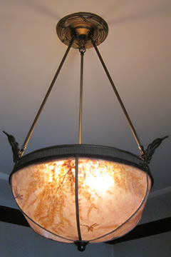 Custom Bent mica ceiling lamp shade with dried maidenhair and hand-cut dragonflies by Sue Johnson