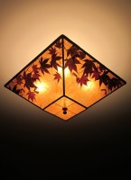 "c312 Square Amber Mica Ceiling Light Fixture ""Maple Medley"""