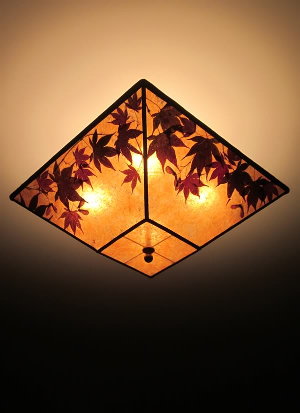 Square Amber Mica Ceiling Light Fixture Maple Medley