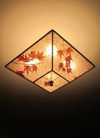 "c314 Square Silver Mica Ceiling Fixture ""Branching Maples"""