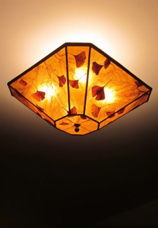 "c315 Cut-Corner Square Amber Ceiling Light ""Ginkgos Galore"""