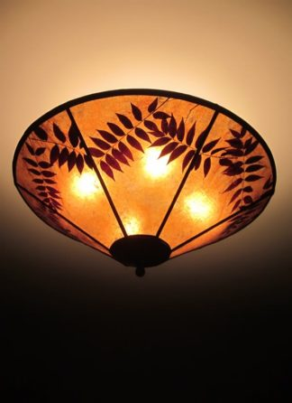 "c316 Round Amber Mica Ceiling Light Fixture ""Pistachios Forever"""