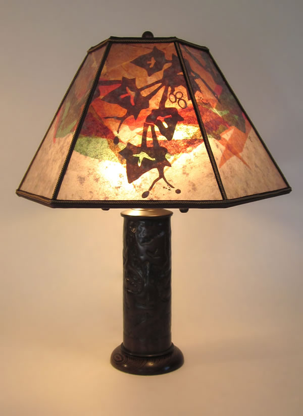 Trench art antique lamp shell casing with ivy design sue johnson t000 trench art lamp ivy mica lamp shade aloadofball Gallery