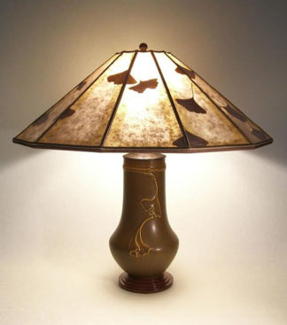 t175 Arts & Crafts Lighting Lonesomeville Pottery Ginkgo Table Lamp 12-panel Mica shade