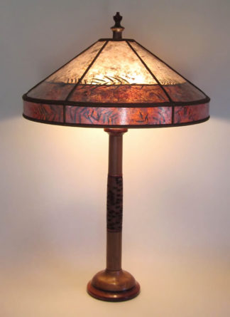 lt305 Turned wood lamp with Walnut, Bubinga and Banksia Pod, Mica lamp shade