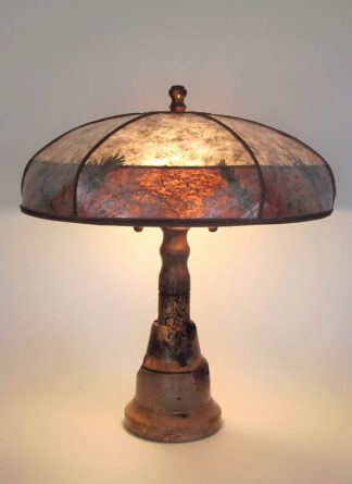 "lg-t305b One of a kind lamp, ""Volcano"" Turned wood lamp with Banksia Pod, Mica lamp shade"