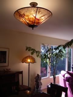 Mica custom ceiling shade and custom floor lamp shade