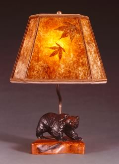 t13 Rustic Lighting: Ainu hand carved Bear Lamp, mica lampshade with natural leaves