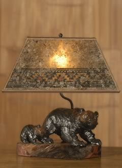 T156 Rustic Lighting: Ainu Carved Bear Table Lamp, Mica Rectangle Lampshade  With Southwestern Border