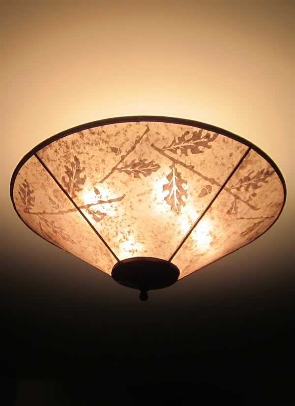 Hand Cut Oak And Acorn Design Round Mica Ceiling Light