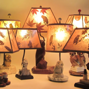 Seven owl lamps and owl lamp shades