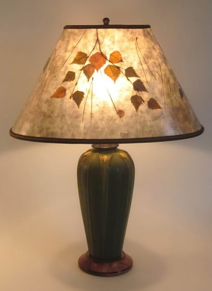 t294 Ephraim Faience lamp and oval mica shade with birch and pine