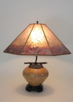 t332 Small gold raku lamp