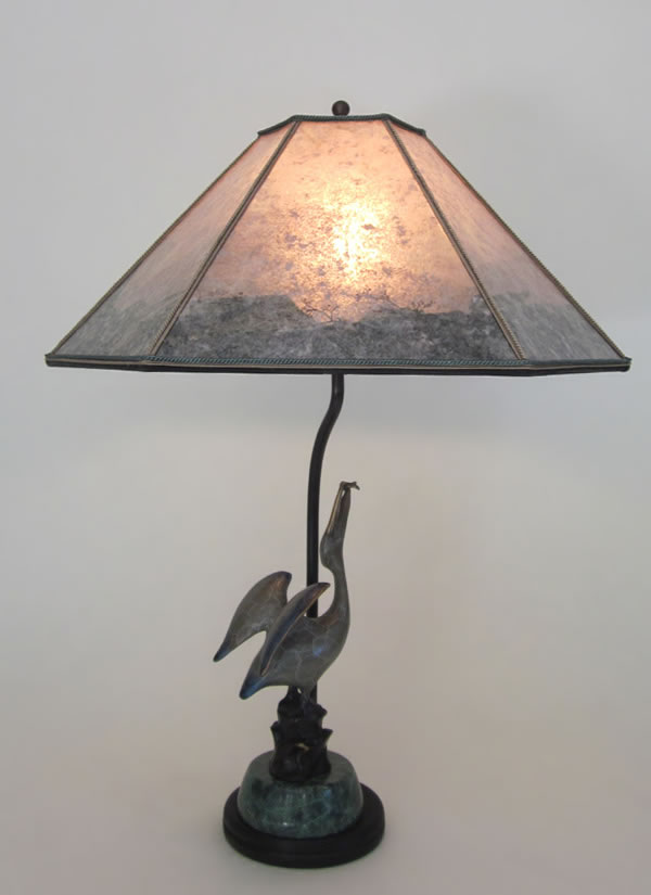 Pelican Lamp With Color Border Hexagon Mica Lamp Shade