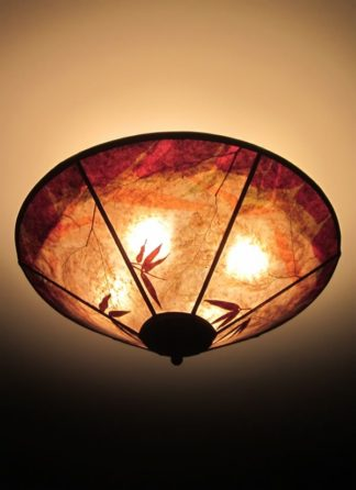 c322 Bamboo garden at sunset round mica ceiling shade