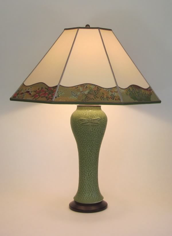 Paper Lamp Shades : Tall green lonesomeville pottery dragonfly lamp with hand