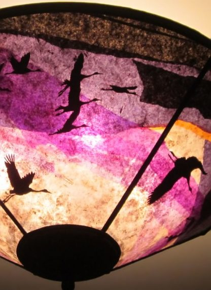 c345 Cranes at Daybreak purple ceiling shade detail
