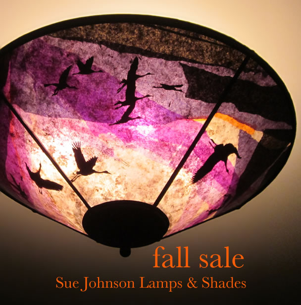 Fall SALE c345 Cranes at Daybreak purple ceiling shade