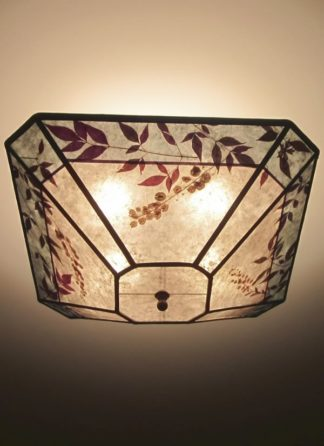 C326 Cut-corner square silver mica ceiling light with aqua color band and natural foliage