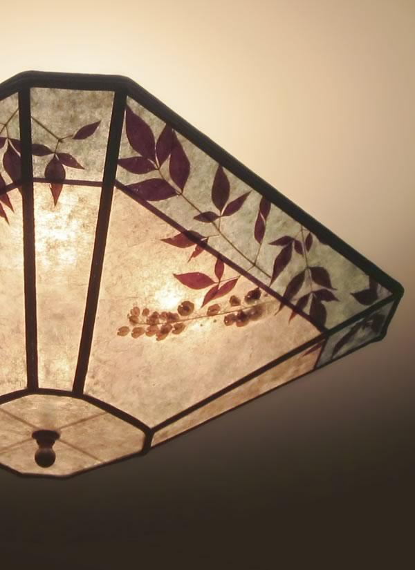Cut-corner square silver mica ceiling light with aqua ...