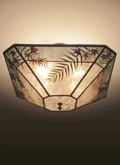 C 327 Cut-corner square alkyd ceiling light mica with seaglass blue border, and natural foliage