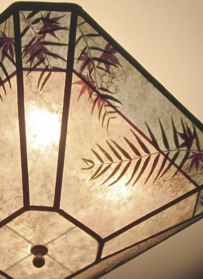 c327 mica ceiling lampshade with blue border, cut-corner square, diagonal-detail