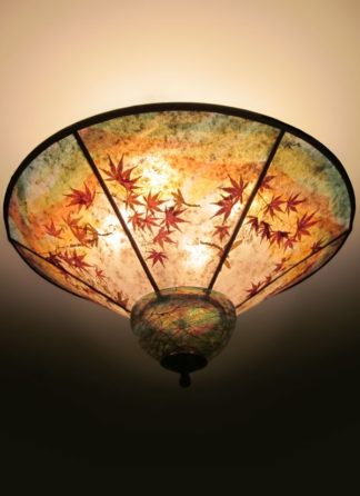 When dragons fly round mica ceiling light with hand blown glass cap