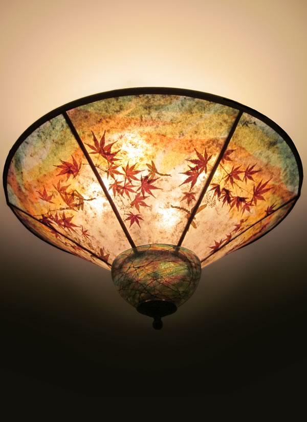 When Dragons Fly Round Mica Ceiling Light With Hand Blown