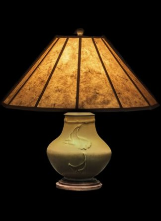 T348 Medium Lonesomeville Pottery Ginkgo Table Lamp, Light Mica Lamp Shade with a delicate dragonfly liner