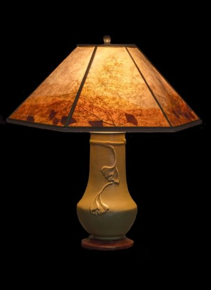T349 Tall Lonesomeville Pottery Ginkgo Table Lamp, Light Mica Lamp Shade with a colorful border featuring natural ginkgo leaves